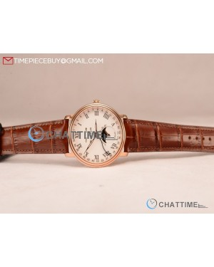 BlancPain Villeret Miyota 9015 Automatic Rose Gold Case with White Dial Roman and Brown Leather Strap (EF)